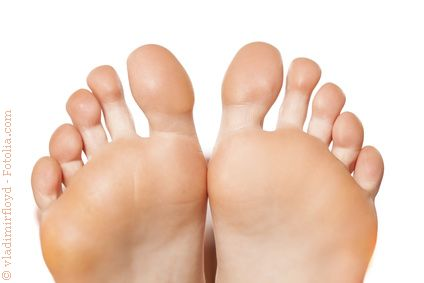 Closeup on bare female feet