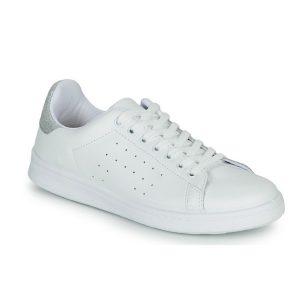baskets cuir blanches Spartoo
