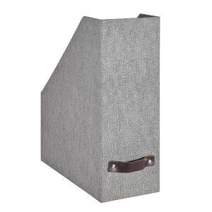 Range-document cuir et carton gris
